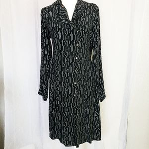 Vintage Black Button Down Long Sleeve Midi Dress
